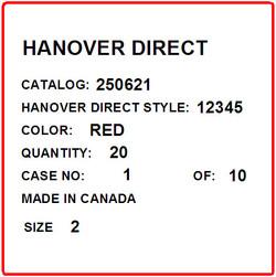 HANOVER - LABEL - 4 X 4