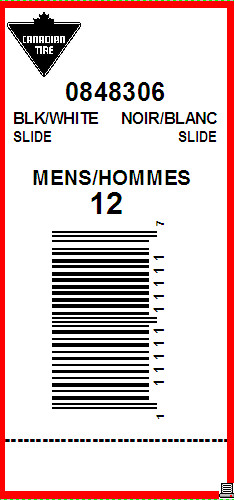 CANADIAN TIRE - TAG - 2.625 X 1.25 WITH PERF