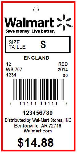 WALMART USA - TAG - 1.375 X 2.75