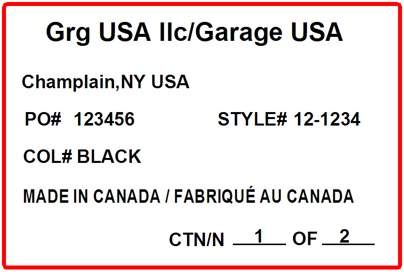 GARAGE - LABEL - 4 X 6 LONG