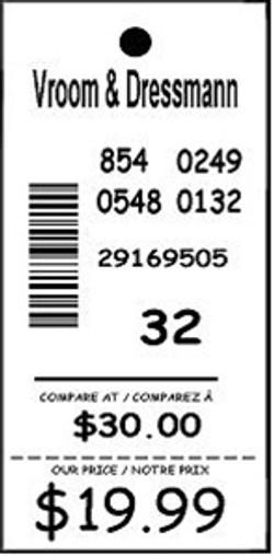 VROOM & DRESSMAN - TAG - 1.25 X 3.25