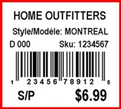 HOME OUTFITTERS - LABEL - 1.25 X 1.125