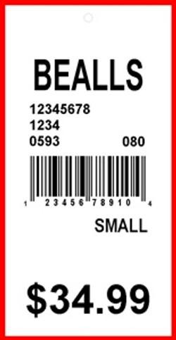 BEALLS - TAG - 1.375 X 2.75