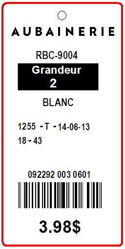 AUBAINERIE - TAG - 1.375 X 2.75