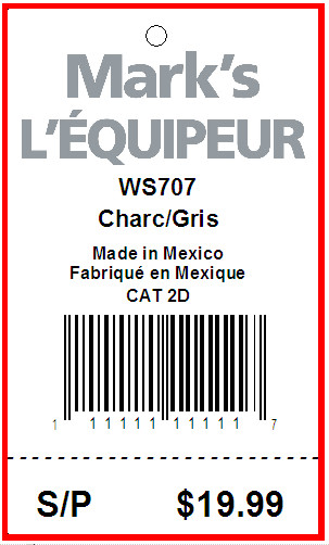 MARK'S WAREHOUSE  L'EQUIPEUR - TAG - 1.5 X 2.5