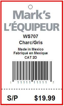 MARK'S WAREHOUSE  L'EQUIPEUR - TAG - 1.5 X 2.5