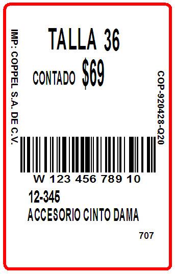 COPPEL - TAG - 1.5 x 2.375