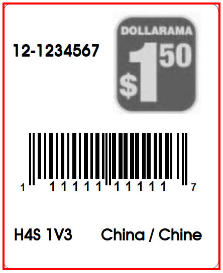 DOLLARAMA - LABEL - 1.3 X 1.6