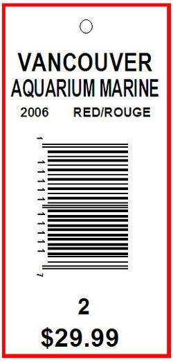 VANCOUVER AQUARIUM MARINE - TAG - 2.625X1.25
