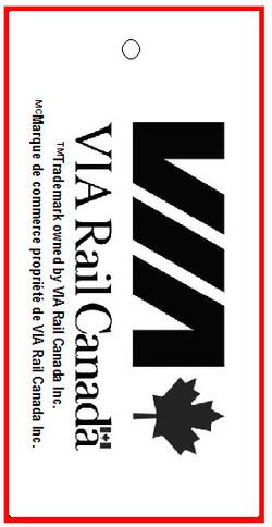 BENTLY - VIA RAIL - TAG - 1.375 X 2.75 BACK