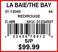 THE BAY - LABEL - 1.25 X 1.125