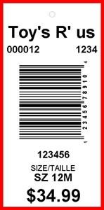TOYS R US - TAG - 2.625 X 1.25