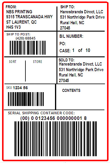 HANESBRANDS - LABEL - 4 x 6
