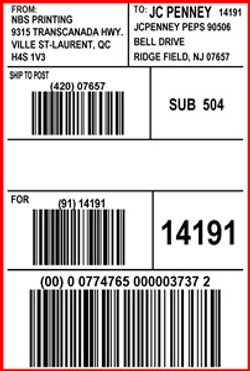 JCPENNY - LABEL - 4 X 6
