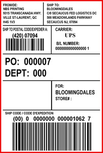 BLOOMINGDALES - LABEL - 4 X 6