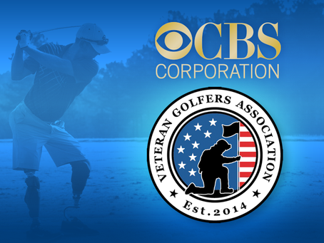 CBS hosted members of the Veterans Golfer Association at the practice round of the Masters