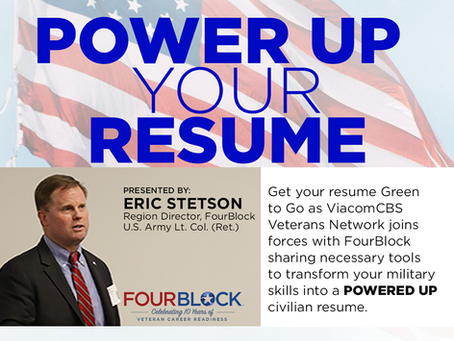 ViacomCBS Veterans Network Welcomes Eric Stetson from FourBlock for Resume Writing Seminar