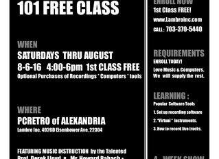 Free Music Production 101 Weekend Classes Through August