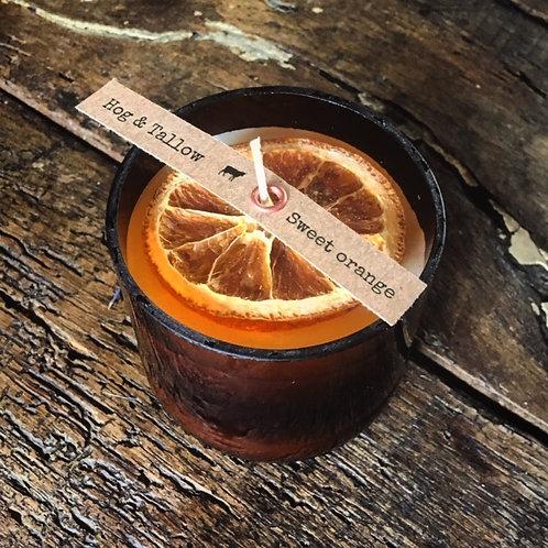 Sweet orange, tallow & beeswax candle