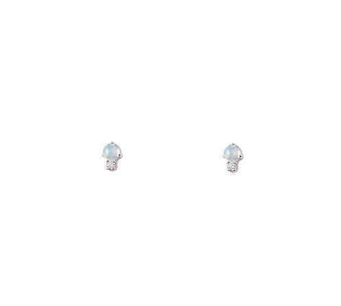 Aqua Stud Earrings, Opal & Sapphire