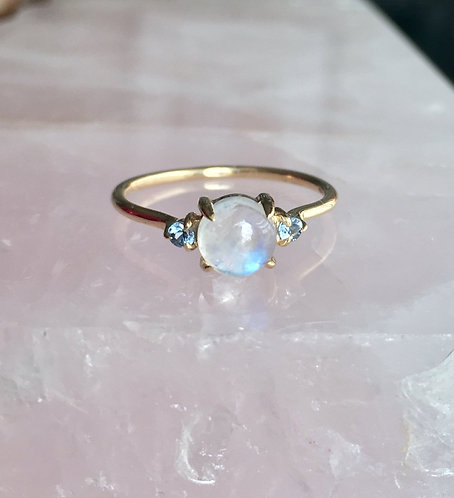 Luna Ring, Moonstone & Blue Sapphires