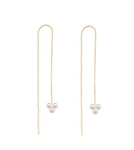 Pearl Blossom, Thread Earrings