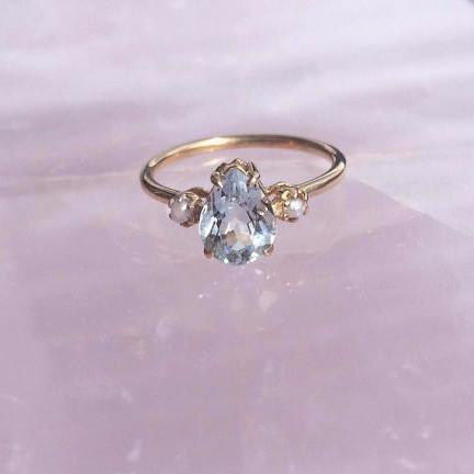 Siren Ring, Aquamarine & Pearls