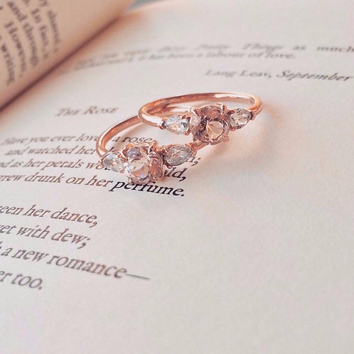 Aeriel Ring, Morganite & White Sapphires