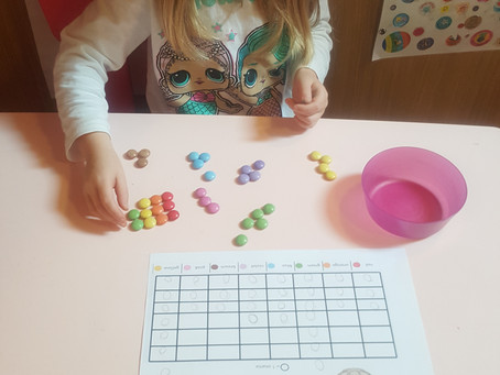 Ella (2VB) creating a pictogram for Maths using smarties