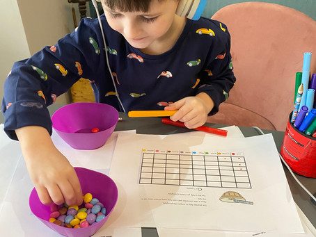 Stanley (2DO) creating a pictogram for Maths using smarties