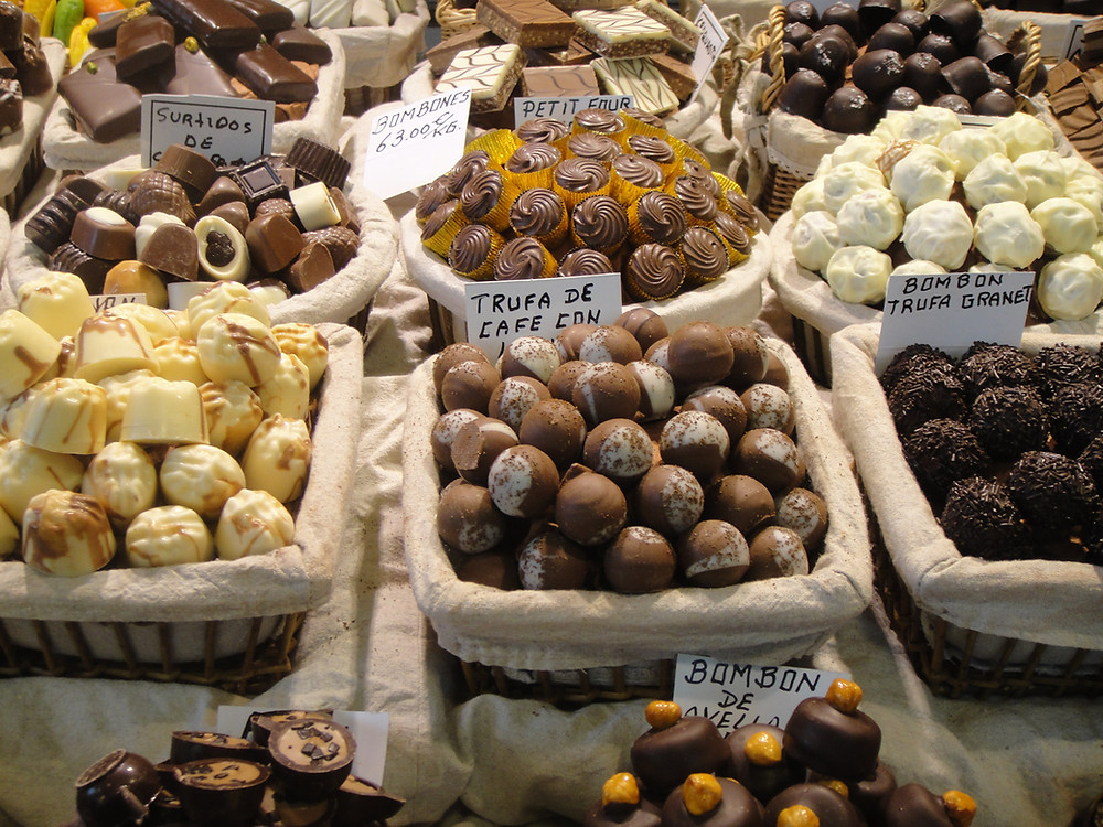 chocolate truffles at candy store