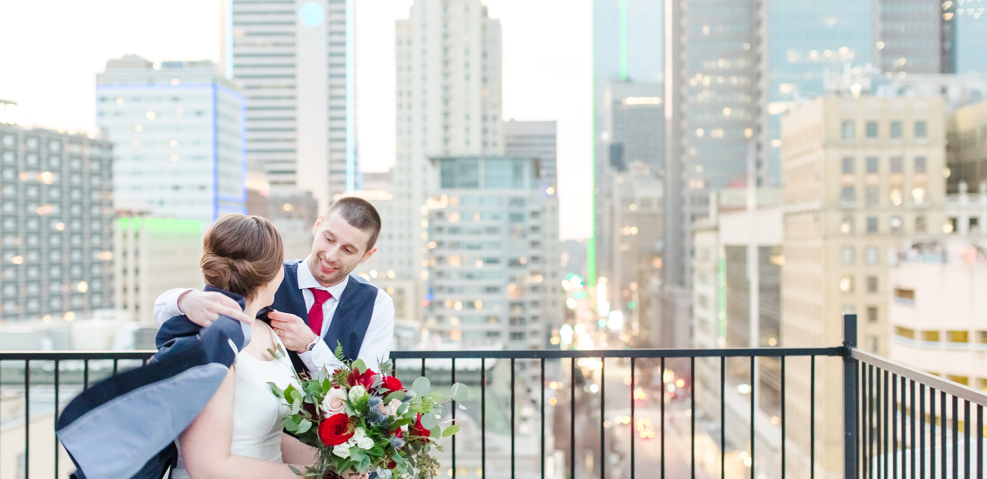 Bride and Groom City view