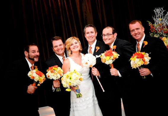 Wedding couple and groomsmen