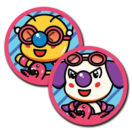 "Bae-Bee & Bo-Bo w/ Floatie  Round Glossy Stickers 2.50"""