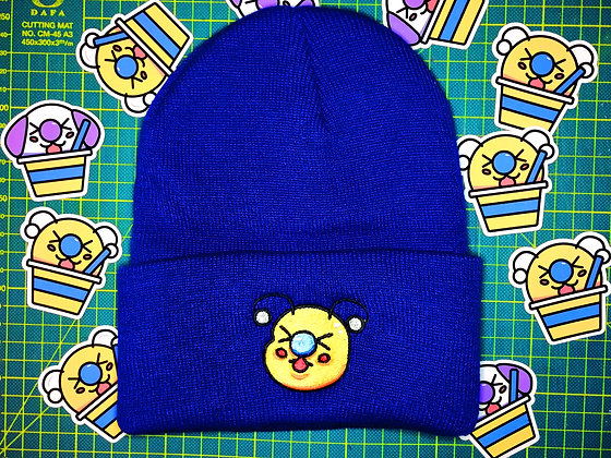 Blue Embroidered Bae-Bee Beanie Hat