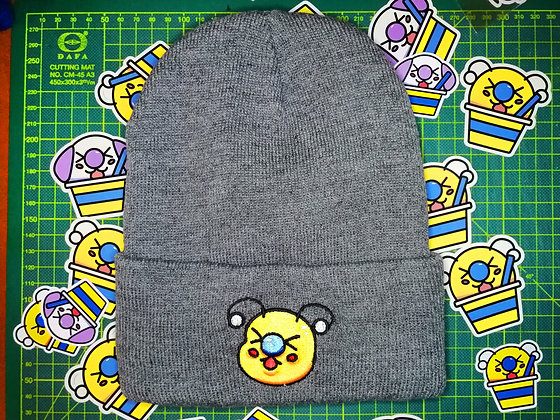 Gray Embroidered Bae-Bee Beanie Hat
