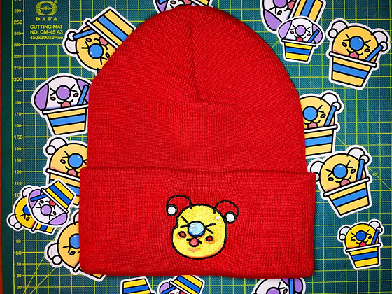 Red Embroidered Bae-Bee Beanie Hat