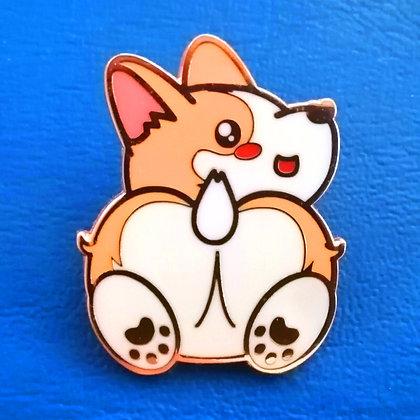 "Rescue Pets Game Corgster Corgi Heart Butt Rose Gold Hard Enamel Pin 1.50"""