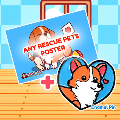 Rescue Pets Game Poster + Soft Enamel Pin Bundle