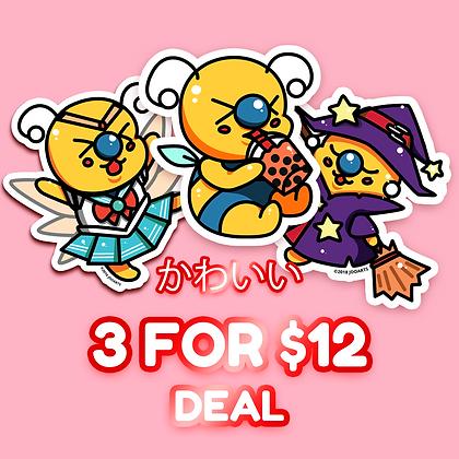 3 for $12 Vinyl Stickers