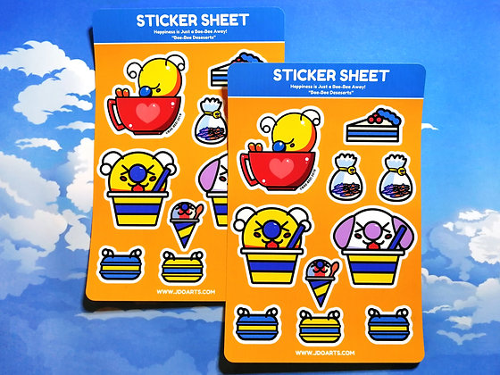 "Tea & Desserts Bae-Bee Glossy Sticker Sheet 4""x6"""