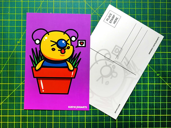 """Pack of 2 Bae-Bee in a Flower Pot Postcard 4""""x6"""""""