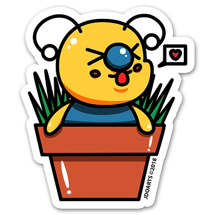 Bae-Bee In A Flower Pot Vinyl Sticker 3""
