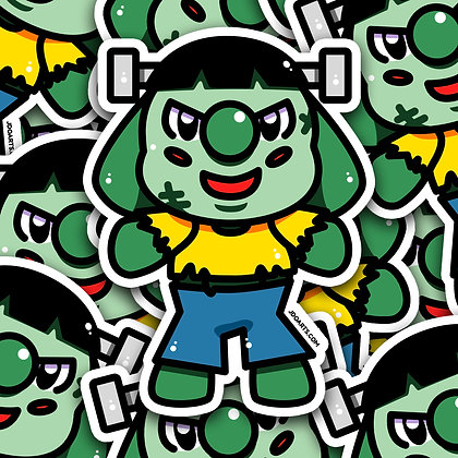 SPOOKY Franken Bo-Bo Adorable Glossy Sticker 3""