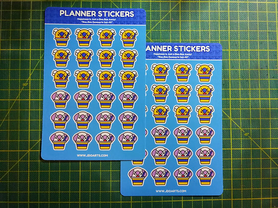 Bae-Bee & Bo-Bo Ice Cream Planner Notebook Sticker Sheet 4x6