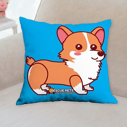 "Rescue Pets Game Corgster Corgi Throw Pillow 14""x14"""