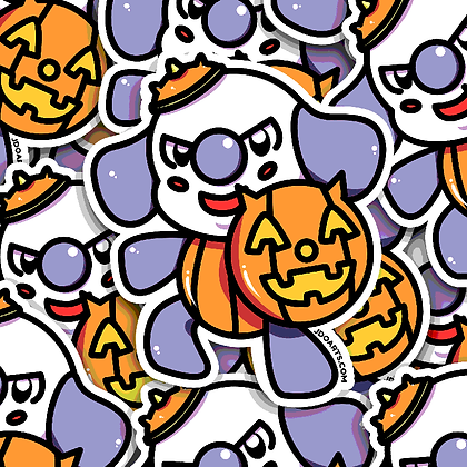 SPOOKY Pumpkin Prince Bo-Bo Adorable Glossy Sticker 3""