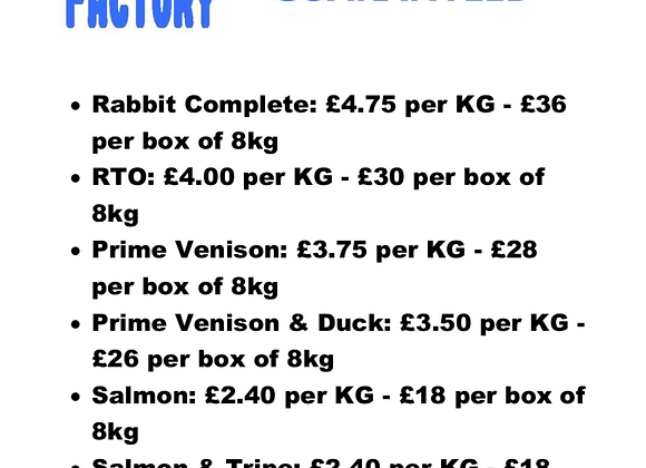 The Raw Factory - Rabbit/Venison/Goose etc