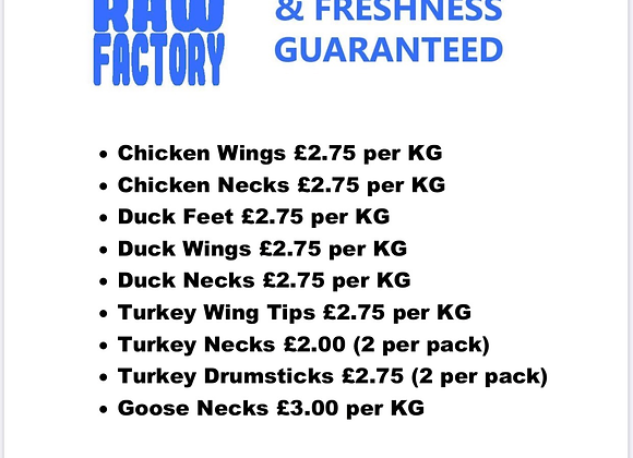 The Raw Factory - Chunks/wings/fish etc
