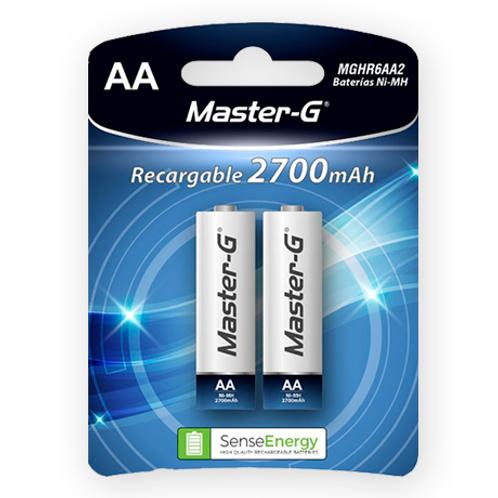 """Pila Master-G recargable """"AA"""" 2700 mAh"""